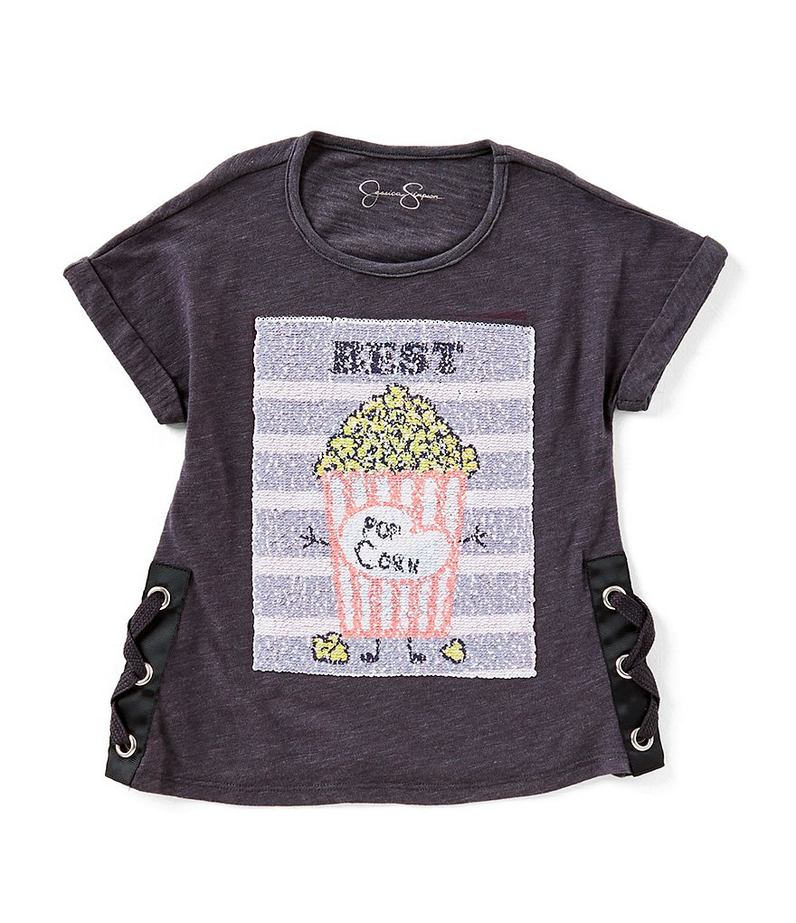 Jessica Simpson Big Girls 7-16 Lace-Up Sequins Tee