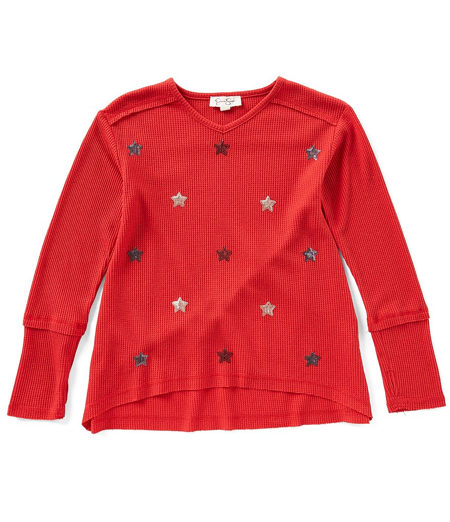 Jessica Simpson Big Girls 7-16 Sequin Stars Long-Sleeve Top