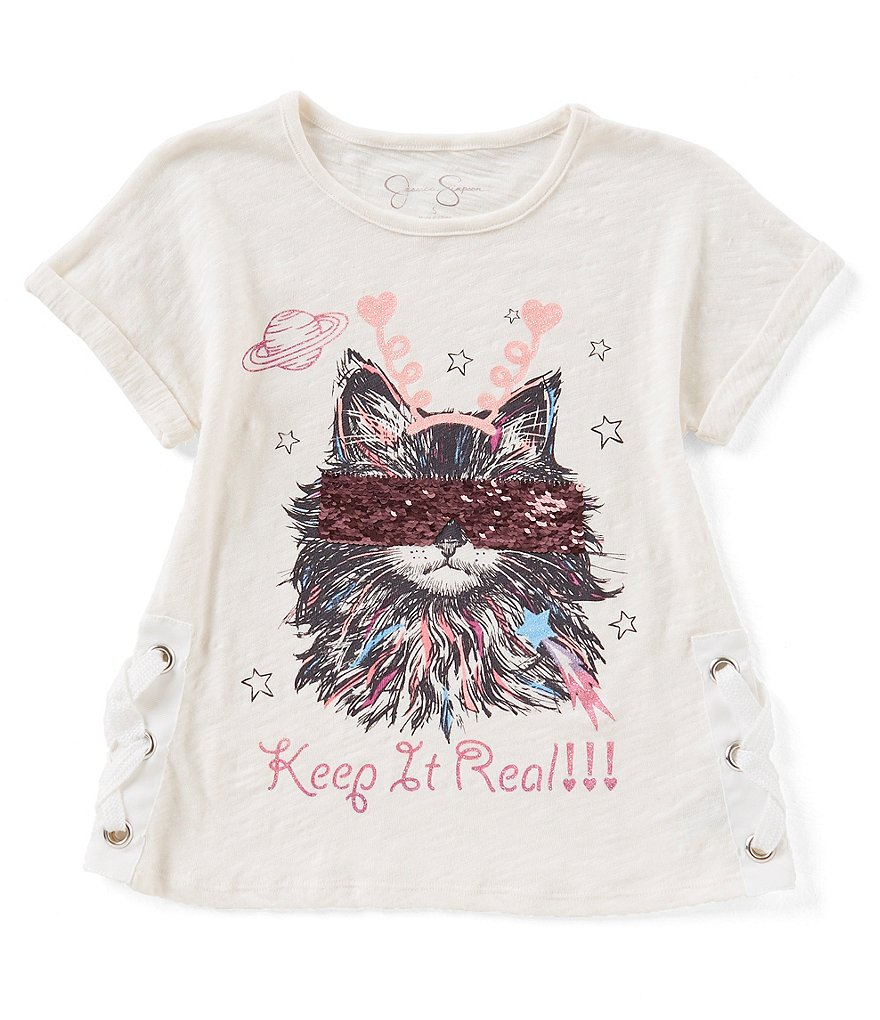 Jessica Simpson Big Girls 7-16 Sequins Movie Cat Tee