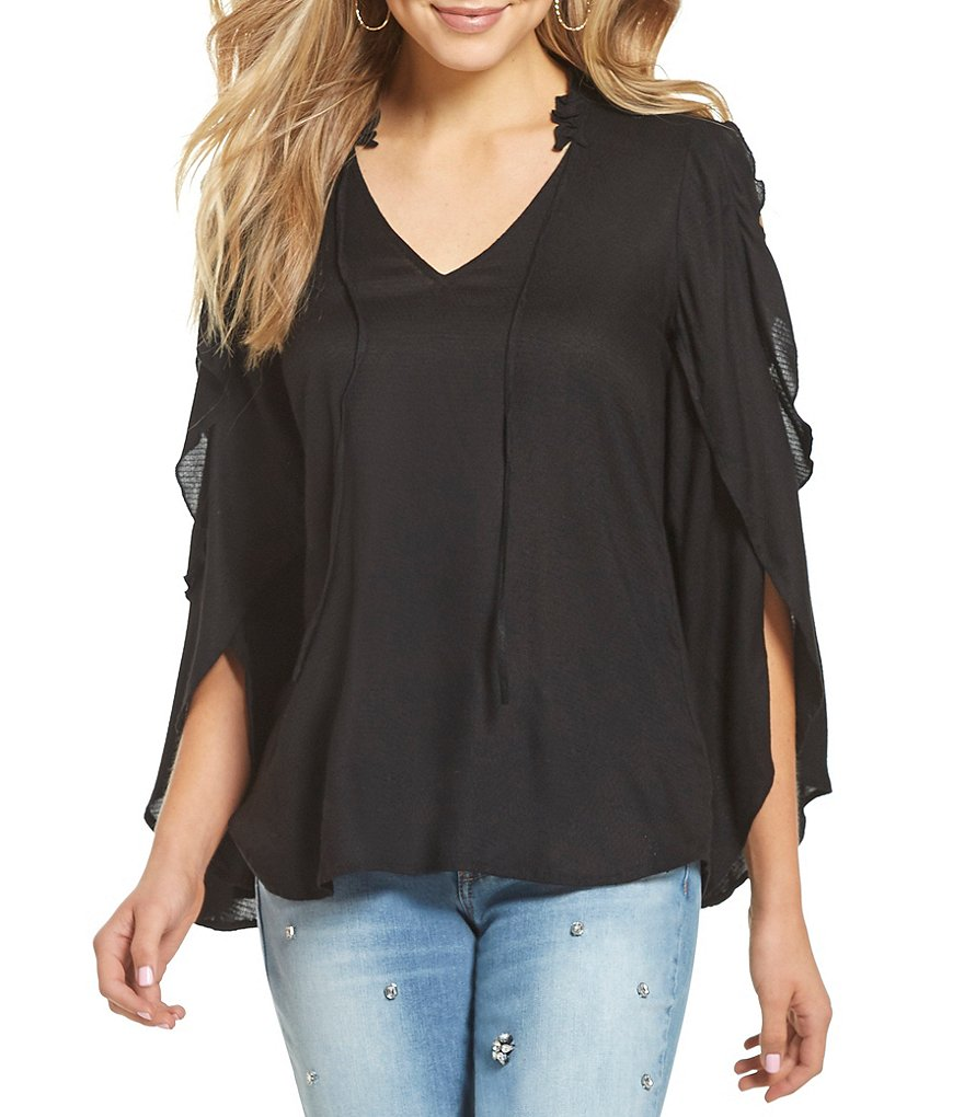 Jessica Simpson Bruna Ruffle Bell Sleeve Peasant Top