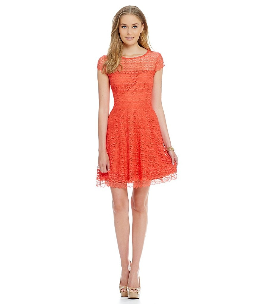 Jessica Simpson Cap-Sleeve Lace Fit-and-Flare Dress
