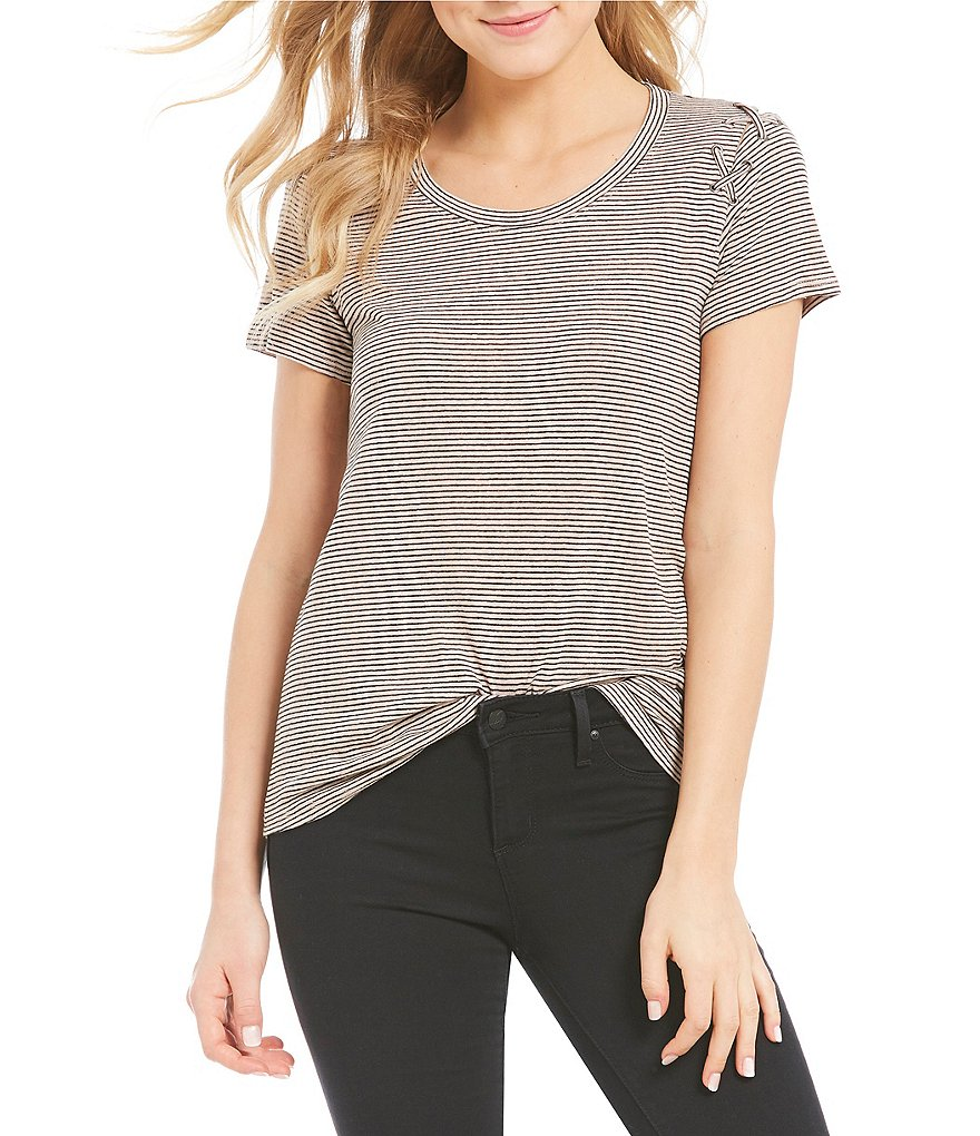 Jessica Simpson Cassidie Striped Lace-Up Sleeve Tee