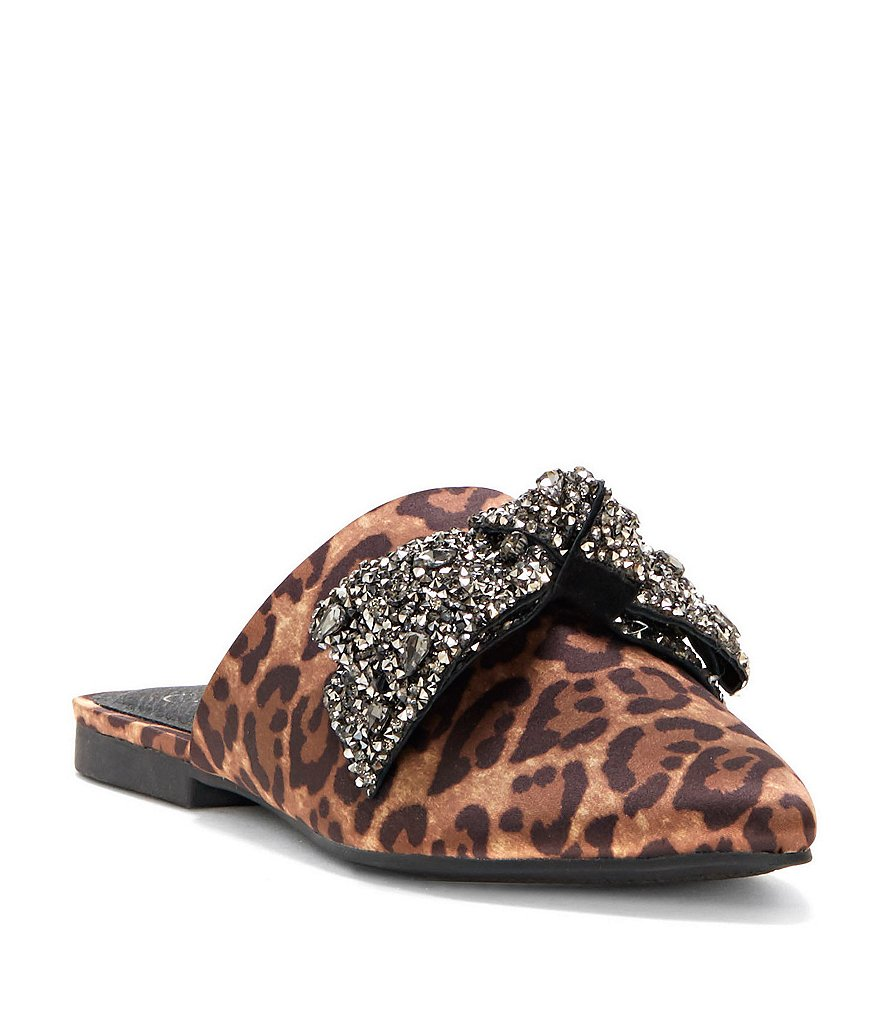 Jessica Simpson Cesely Leopard Print Satin Jeweled Bow Mules