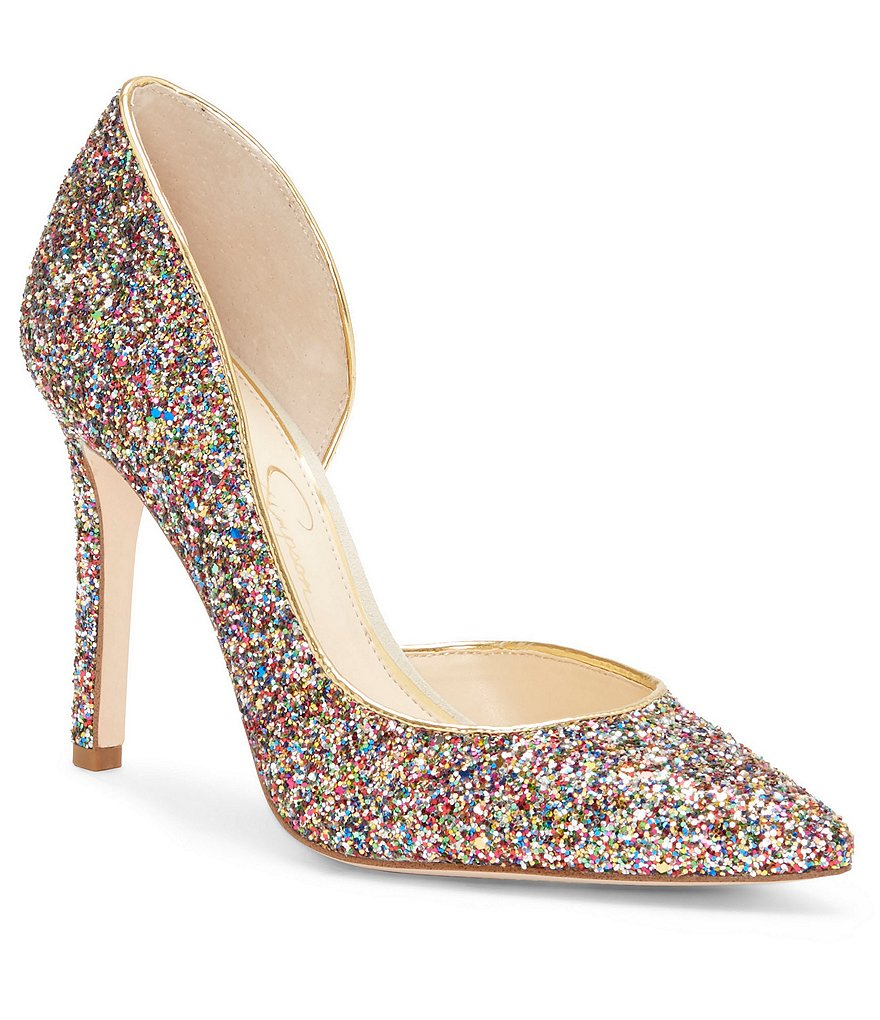 Kate Spade Gold Glitter Heel Rainbow Shoes