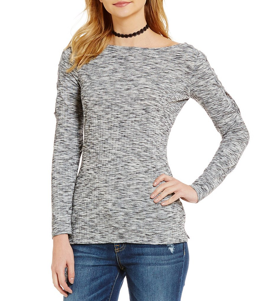 Jessica Simpson Darby Lace-up Shoulder Fitted Top