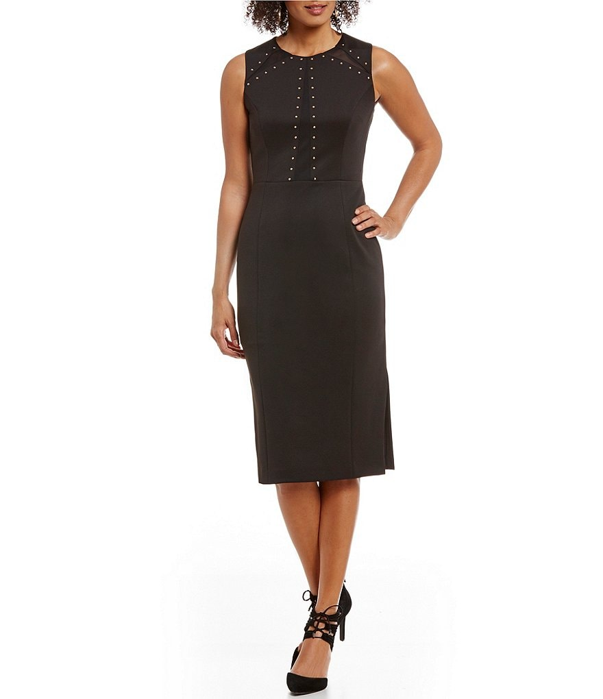 Jessica Simpson Empire Waist Studded Sheath Midi Dress