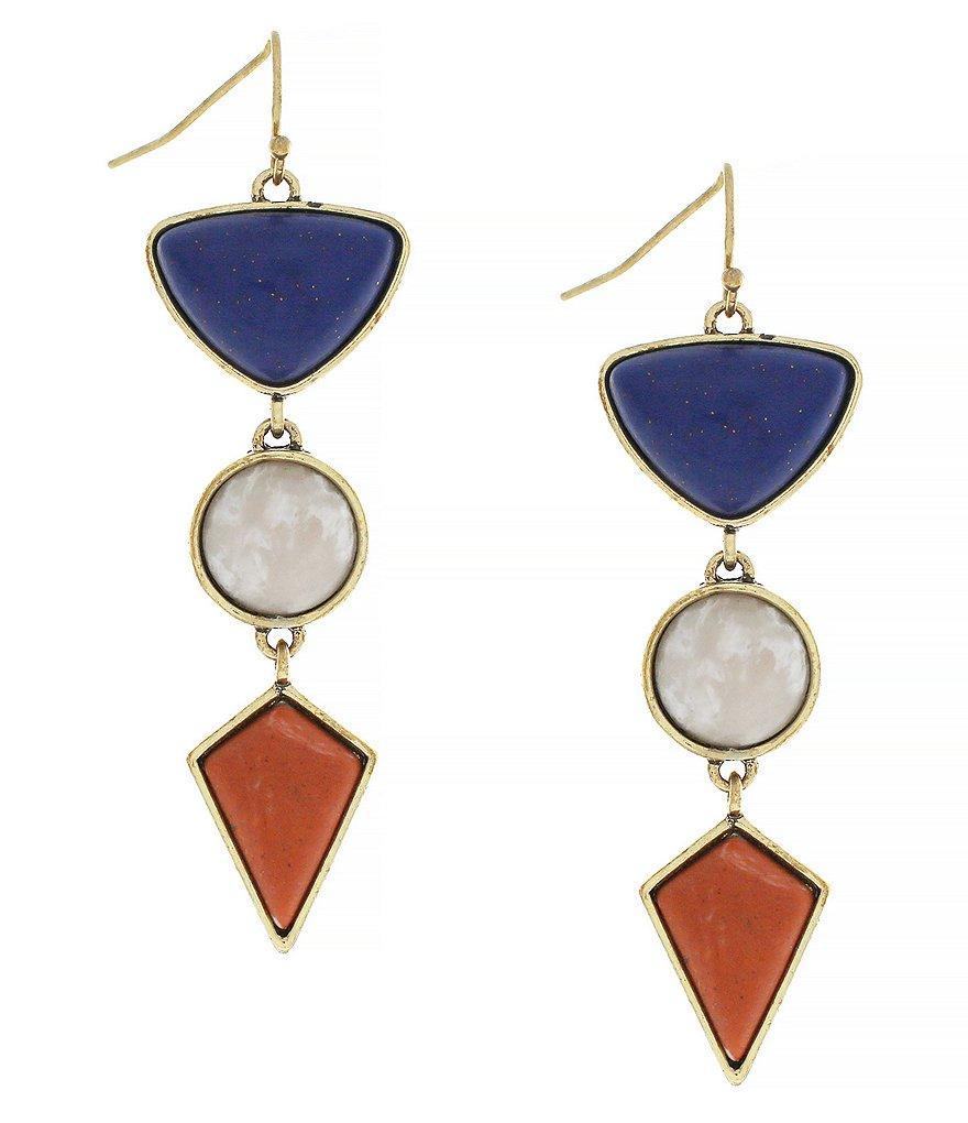 Jessica Simpson Home Grown Fashion Geometric Triple-Drop Statement Earrings
