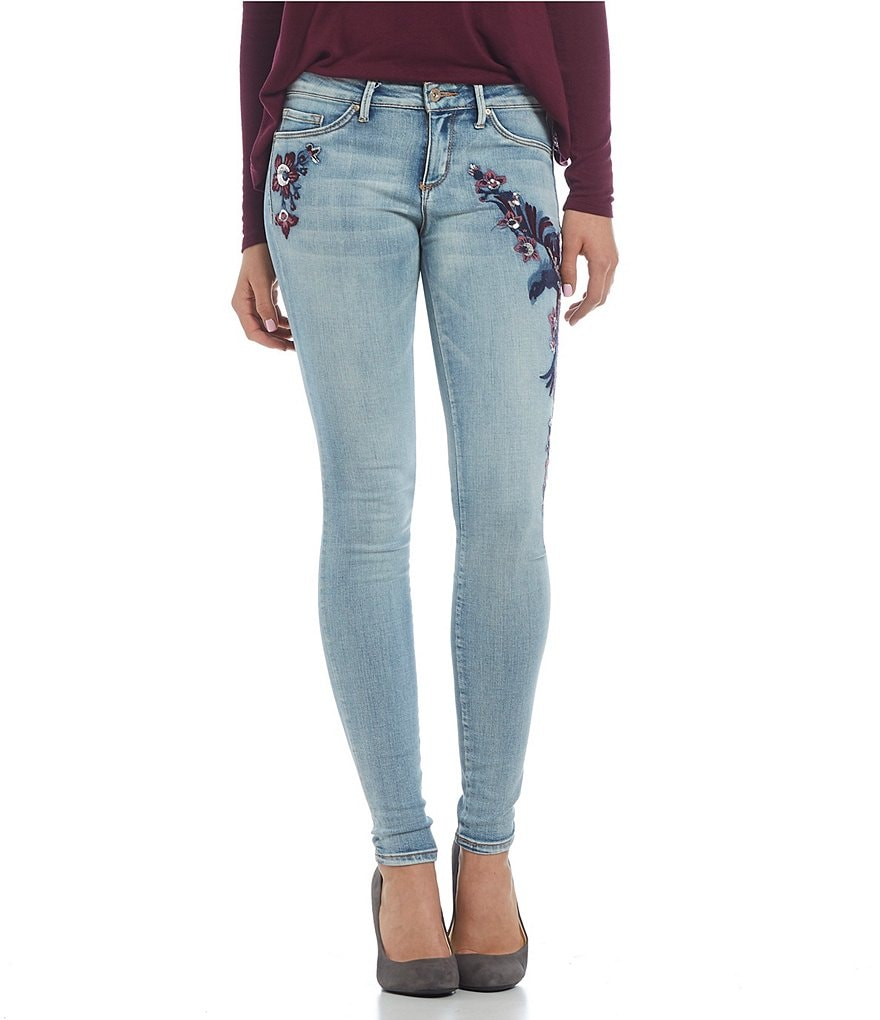 Jessica Simpson Kiss Me Sequin-Embroidered Super-Skinny Jeans