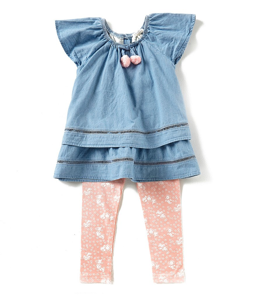 Jessica Simpson Little Girls 2T-6X Chambray Tiered Top & Printed Leggings Set