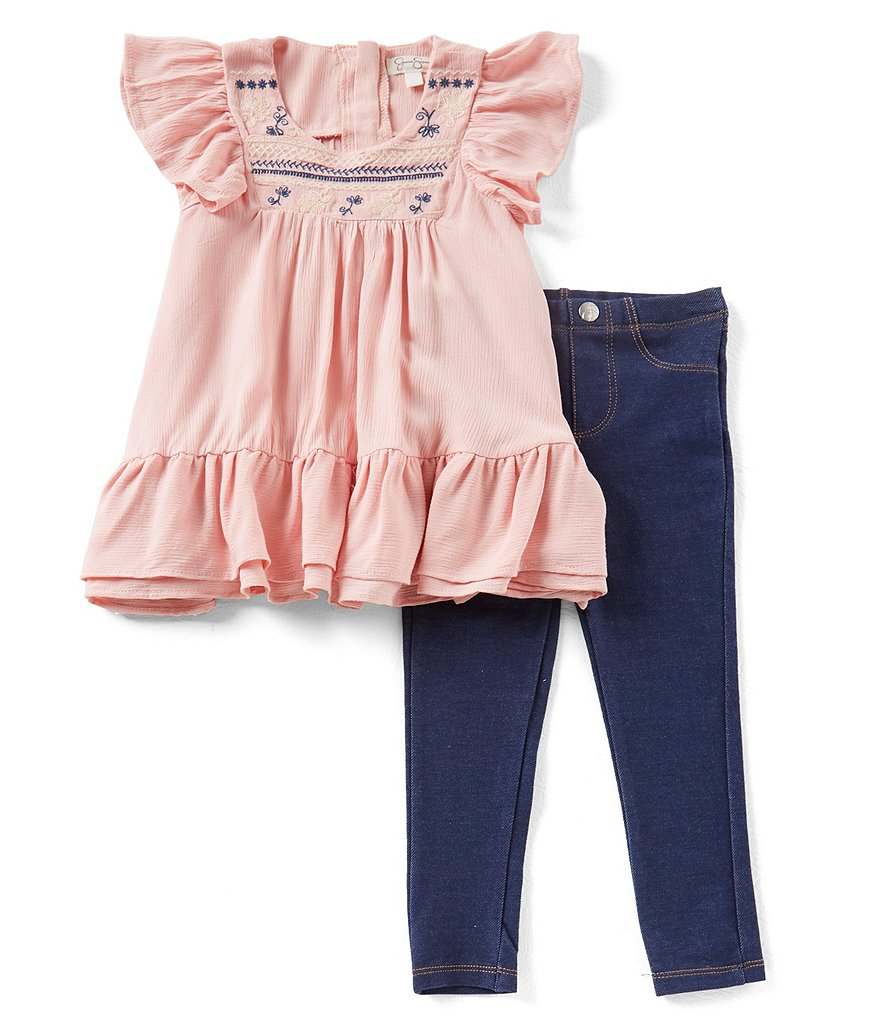 Jessica Simpson Little Girls 2T-6X Embroidered Flutter-Sleeve Top & Jeggings Set