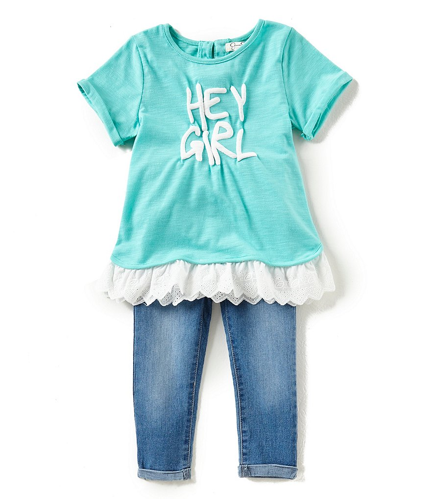 Jessica Simpson Little Girls 2T-6X Hey Girl Short-Sleeve Top & Jeans Set