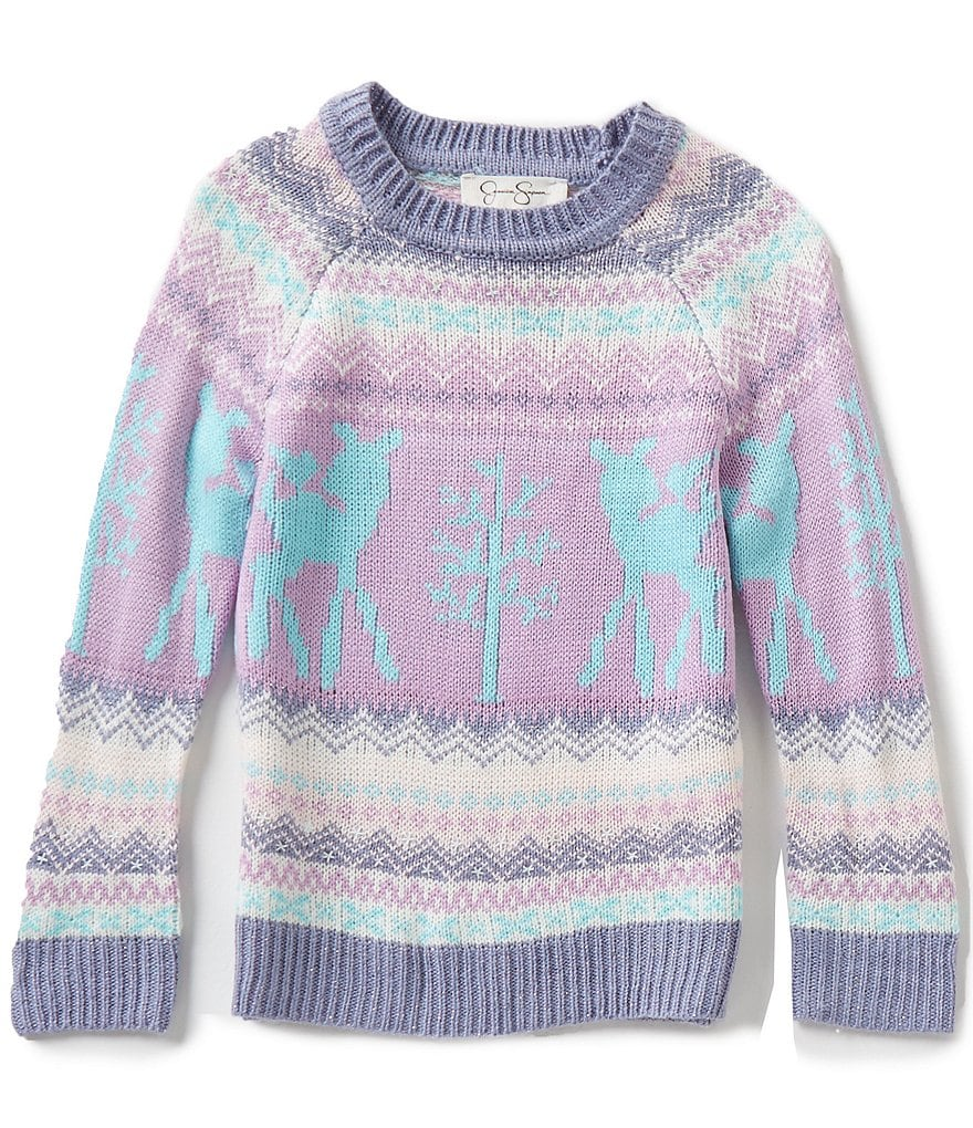 Jessica Simpson Little Girls 2T-6X Kate Cold-Shoulder Christmas Sweater
