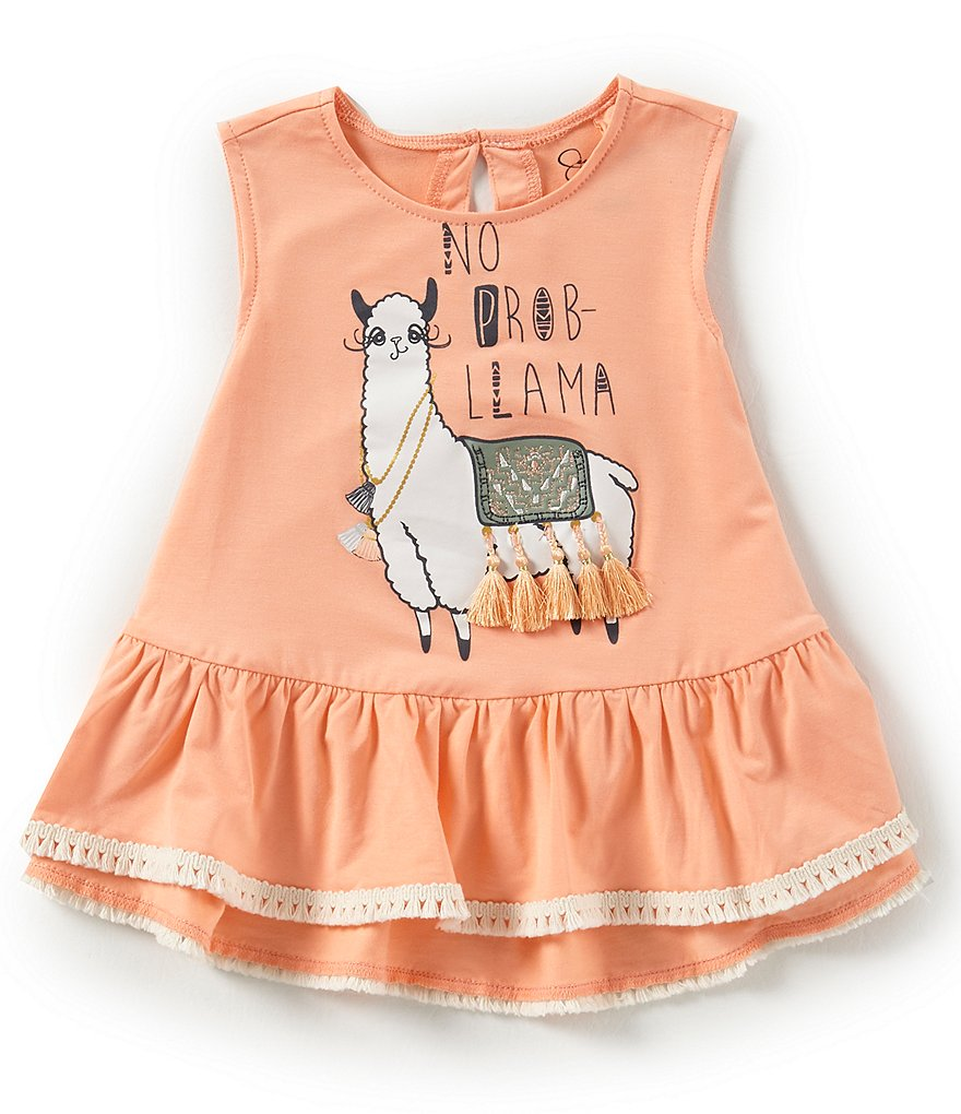 Jessica Simpson Little Girls 2T-6X Llama Ruffle-Hem Top