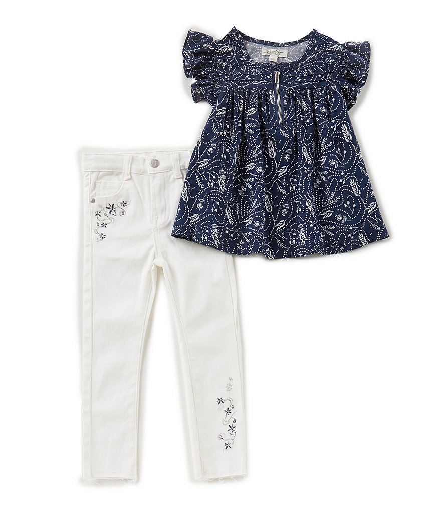 Jessica Simpson Little Girls 2T-6X Printed Flutter-Sleeve Top & Jeans Set