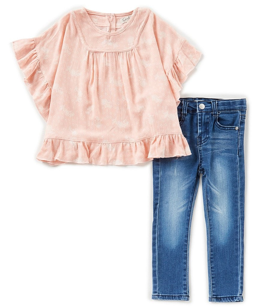 Jessica Simpson Little Girls 2T-6X Printed Ruffle Poncho Top & Jeans Set