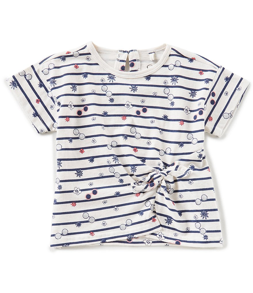 Jessica Simpson Little Girls 2T-6X Striped Knot-Front Top