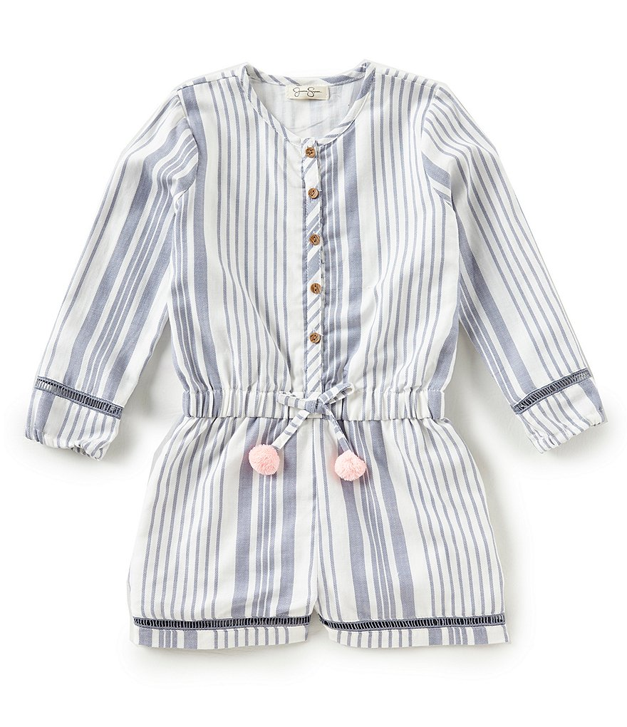 Jessica Simpson Little Girls 2T-6X Striped Long-Sleeve Romper