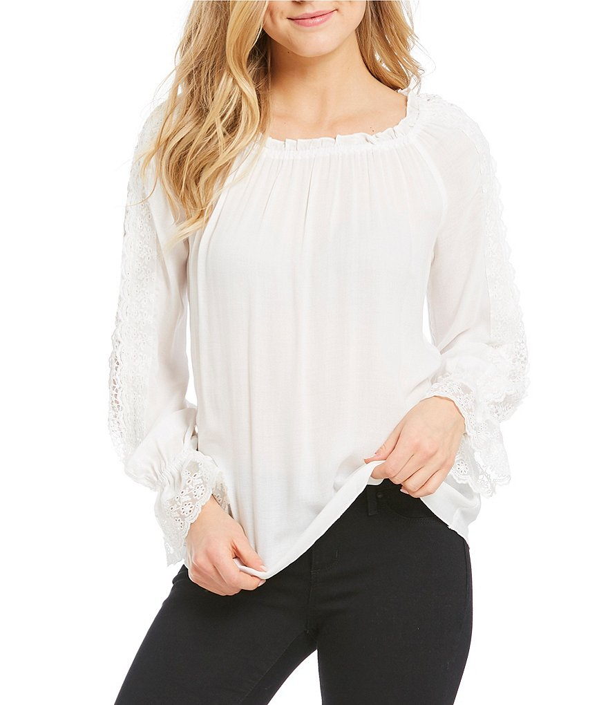 Jessica Simpson Loretta Long Sleeve Bell Cuff Lace Peasant Top