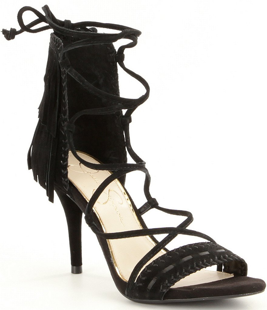 Jessica Simpson Mareya Fringe Lace-Up Suede Dress Sandals