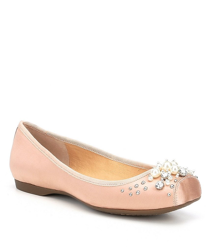 Jessica Simpson Murellia Satin Pearl and Stone Detail Snip Toe Flats