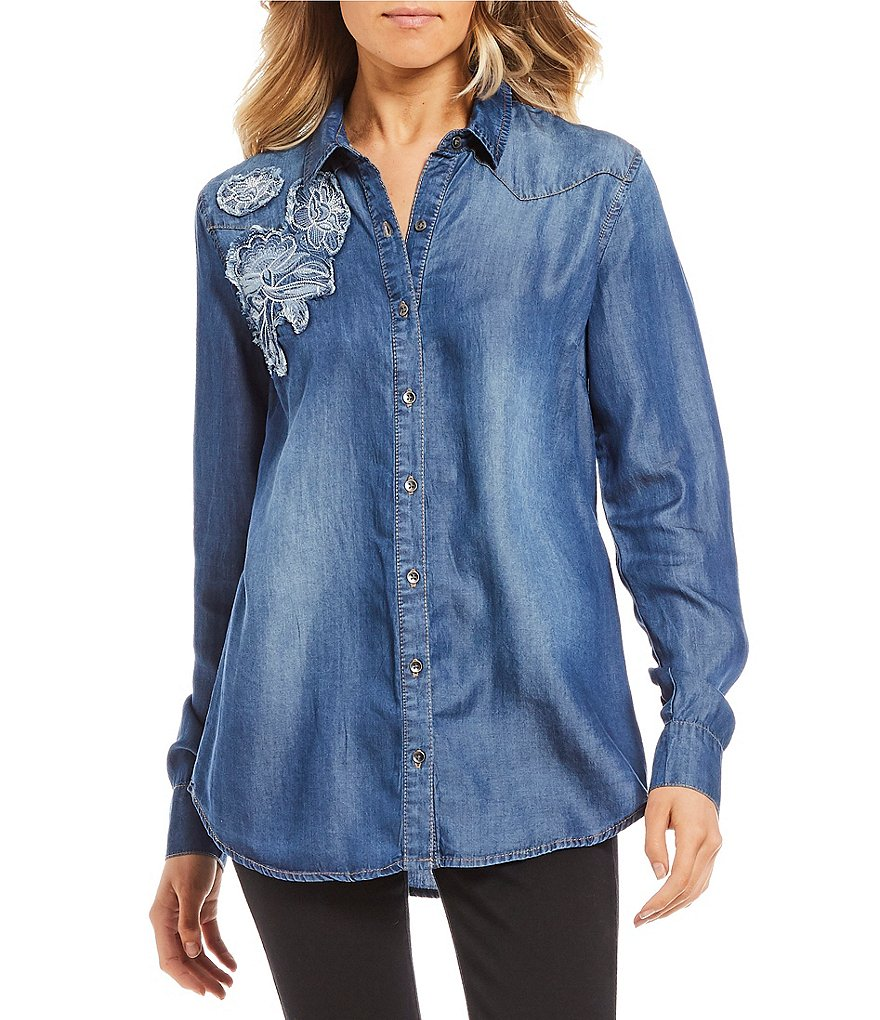 Jessica Simpson Pearl Embroidered Chambray Button Down Top
