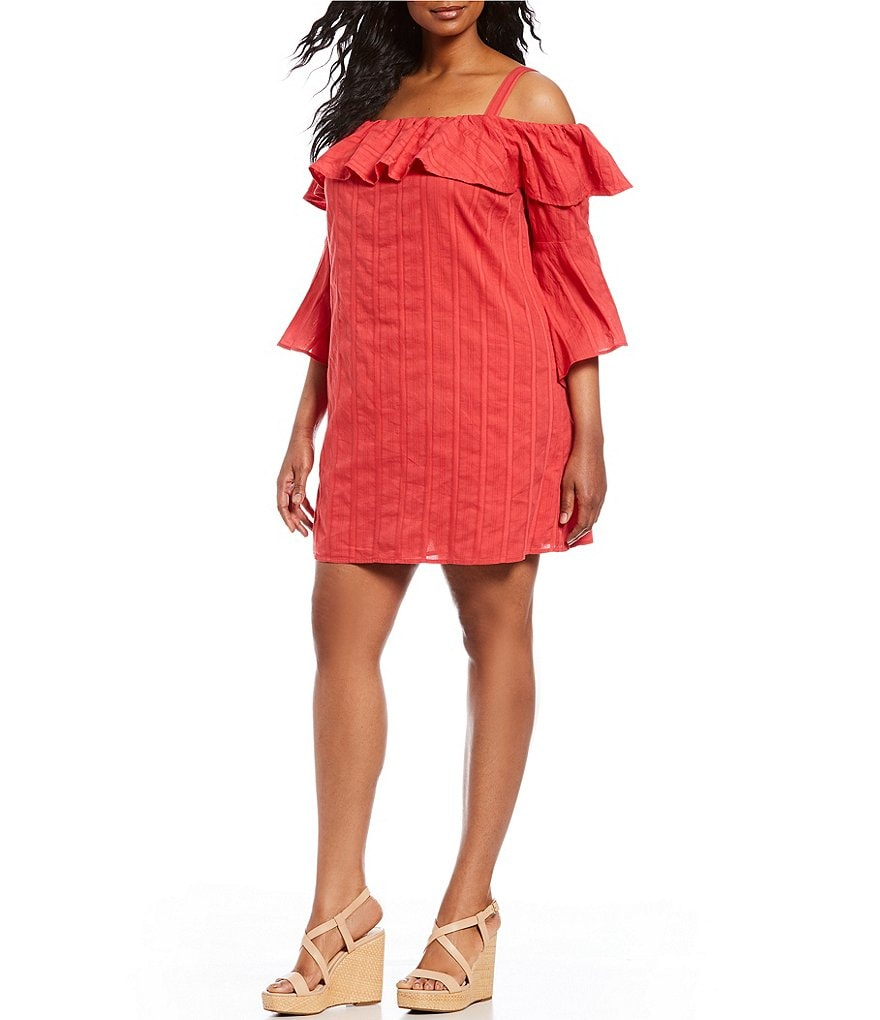 Jessica Simpson Plus Hanna Flounce Bell Sleeve Shift Dress