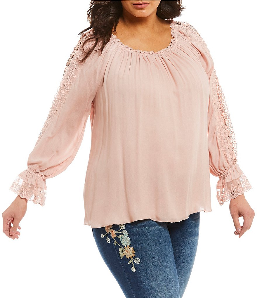 Jessica Simpson Plus Loretta Gathered Sleeve Top