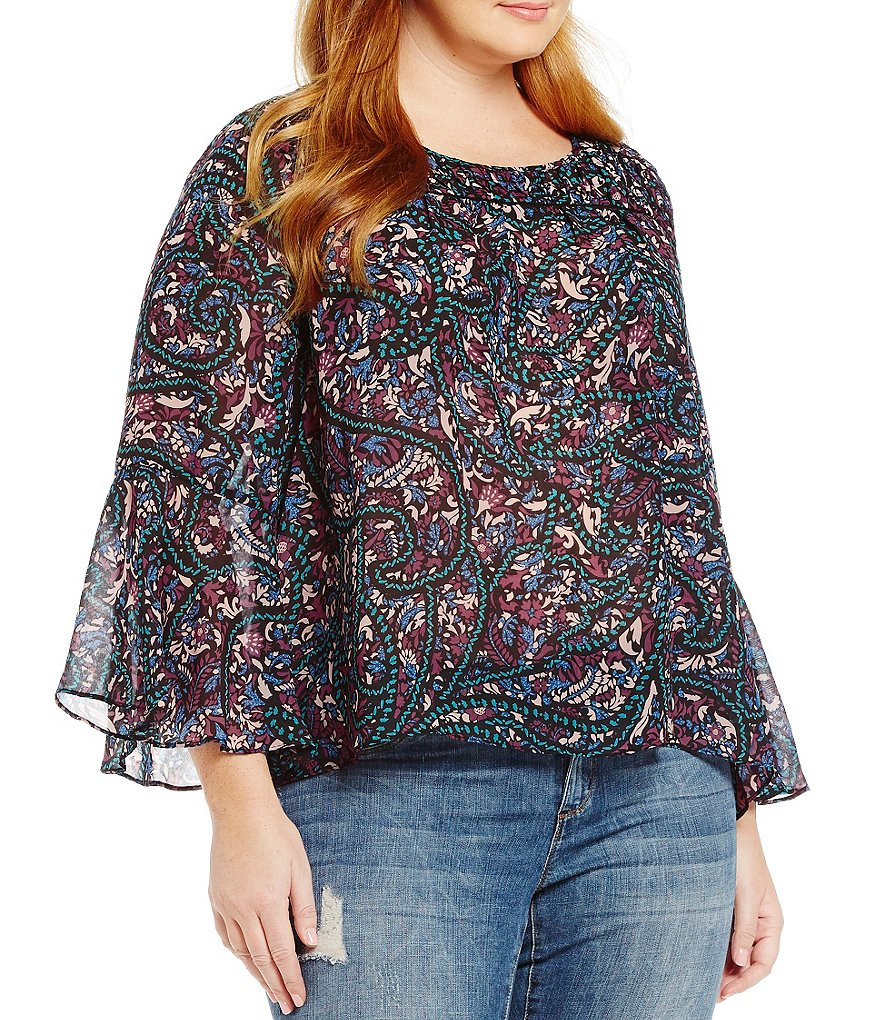 Jessica Simpson Plus Wilma Bell Sleeve Blouse