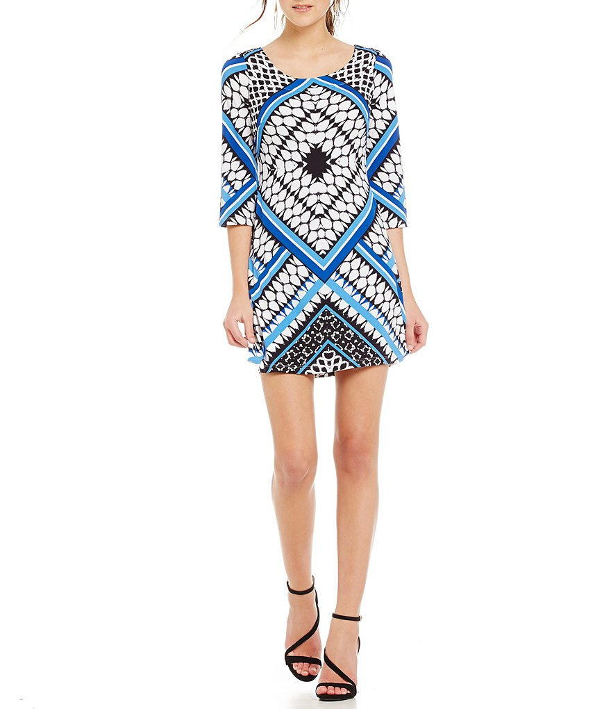 Jessica Simpson Printed Lattice-Back Shift Dress