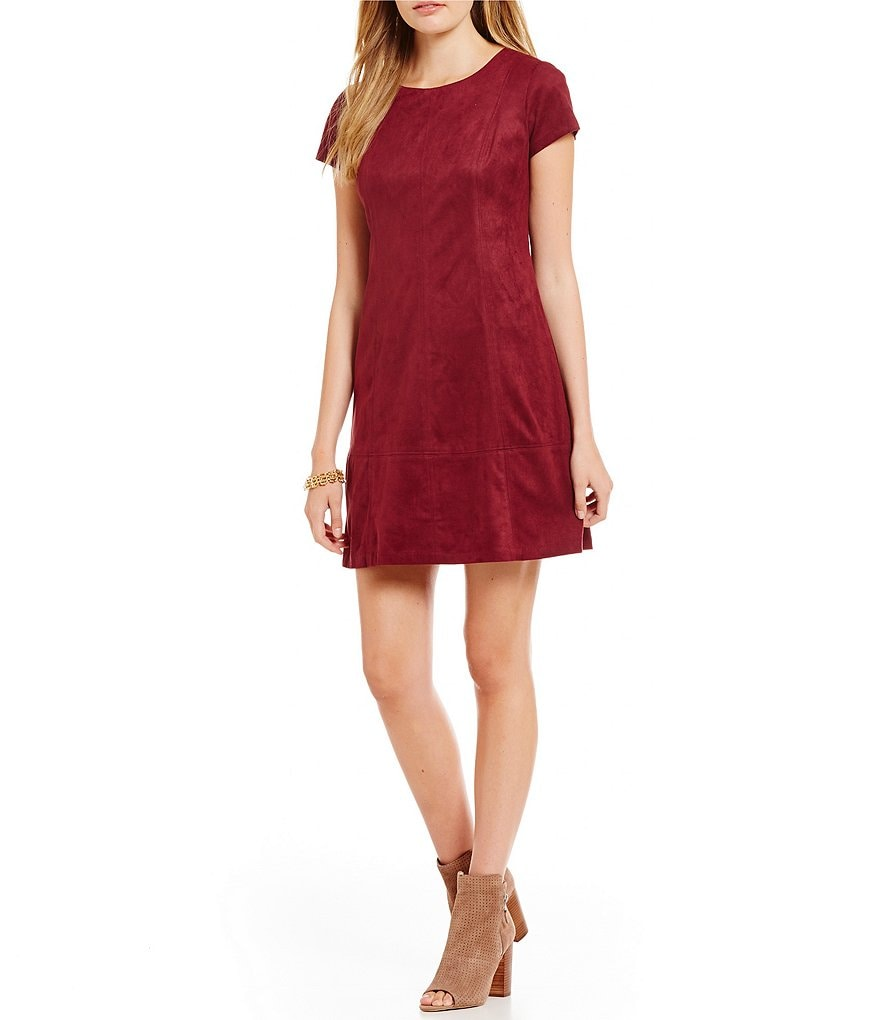 Jessica Simpson Short-Sleeve Suede Shift Dress