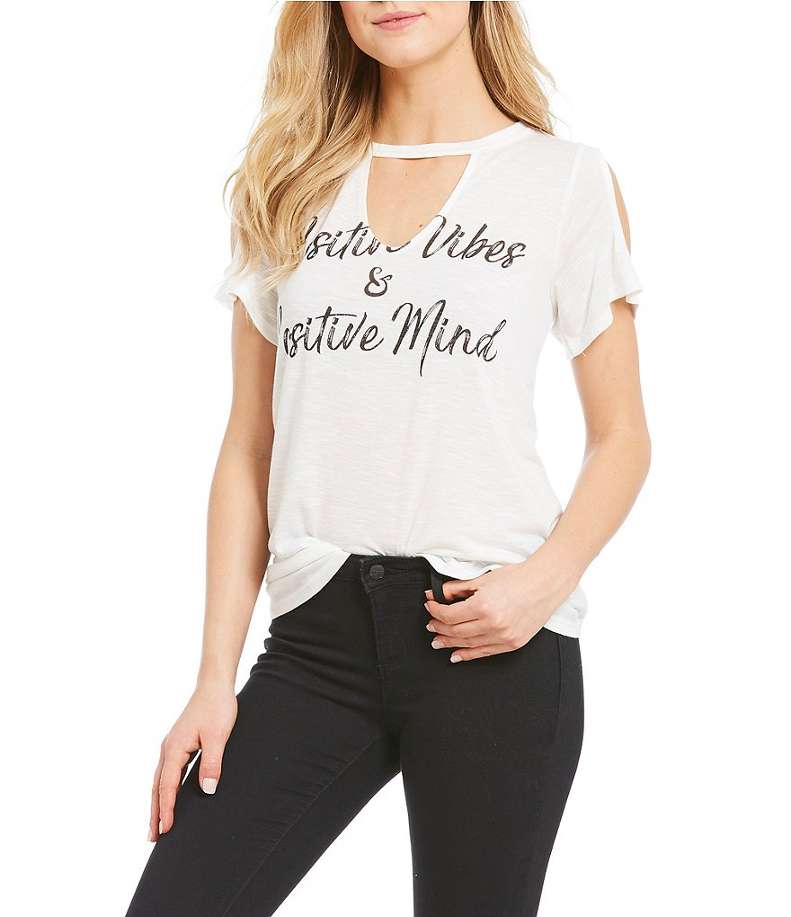 Jessica Simpson Ula Positive Vibes Cold Shoulder Tee