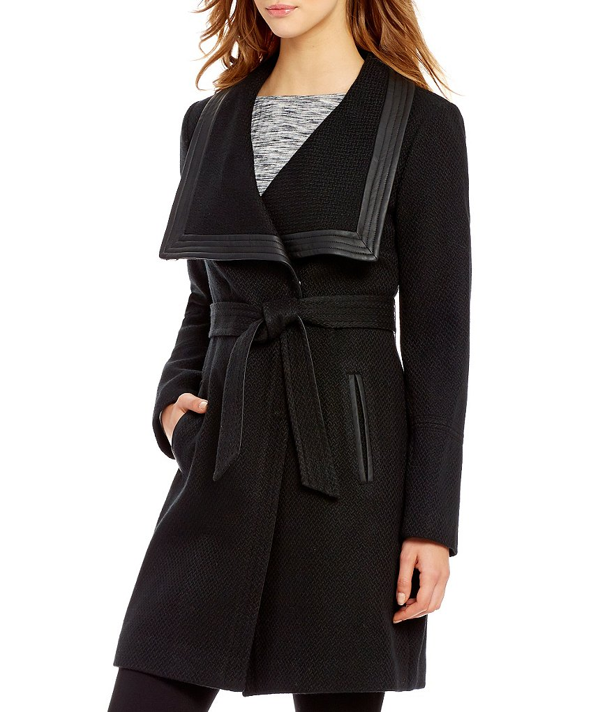 Jessica Simpson Shawl Collar Wool Basket Weave Wrap Trenchcoat