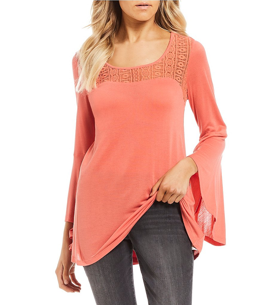 Jessica Simpson Zani Lace Embroidered Bell Sleeve Top