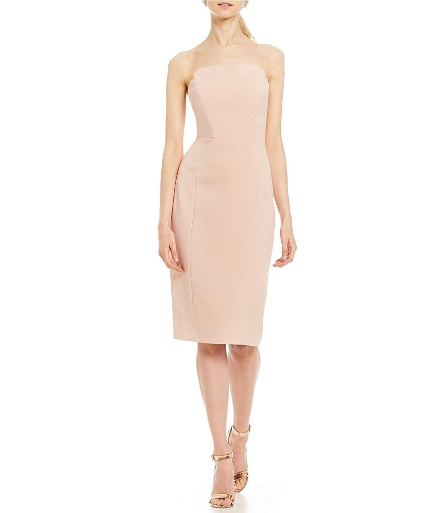 Jill Jill Stuart Strapless Blush Pink Crepe Sheath Dress
