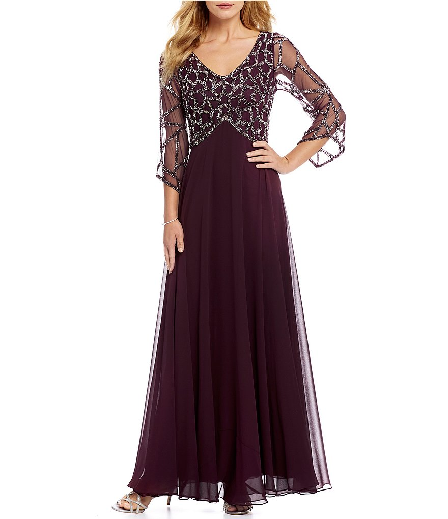 Jkara 3/4 Sleeve Beaded V-Neck Gown