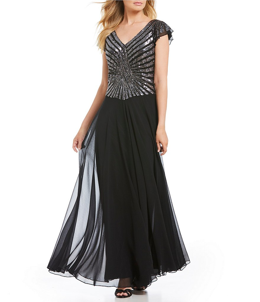 Jkara Beaded Flutter Cap Sleeve Gown