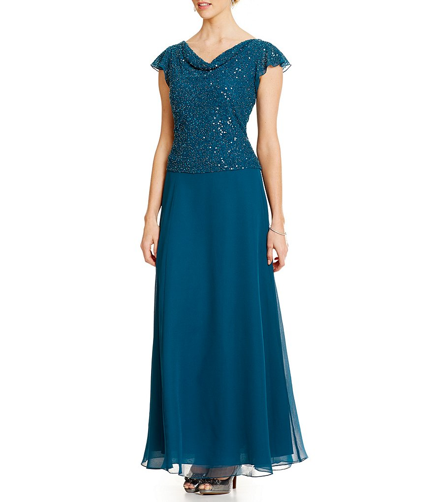 Jkara Beaded Flutter Sleeve Chiffon Gown