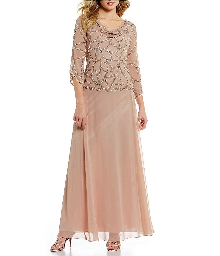 JKara Cowl Neck 3/4 Sleeve Beaded Bodice Chiffon Gown