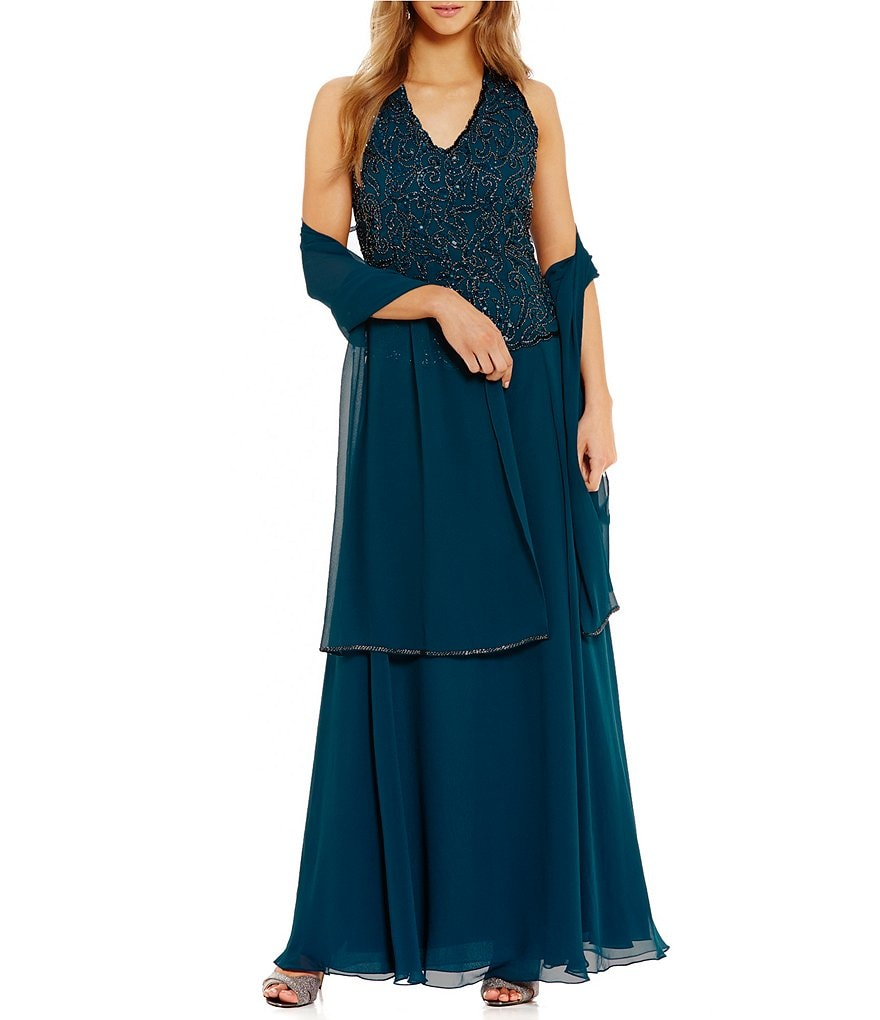 Jkara Halter Neck Beaded Gown