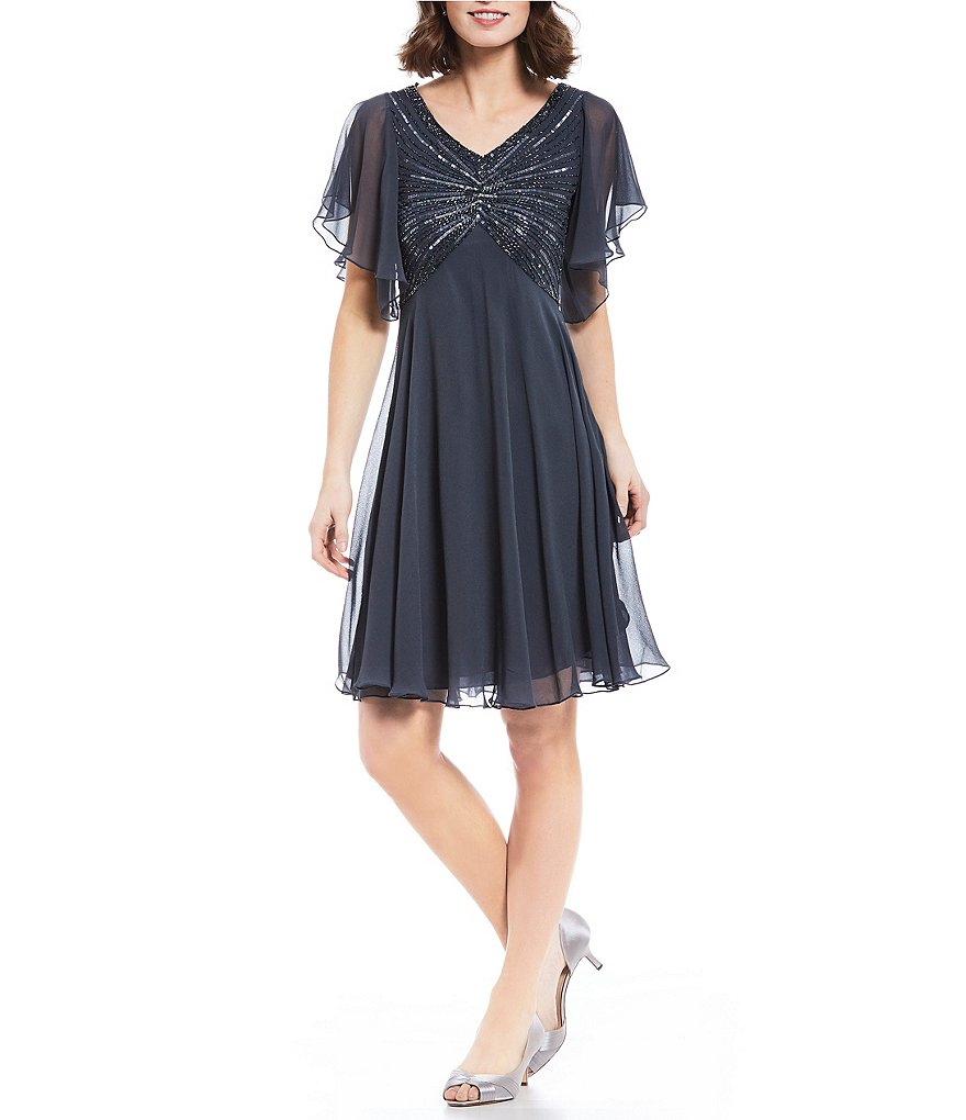 Jkara Petite Flutter-Sleeve Sequined Dress
