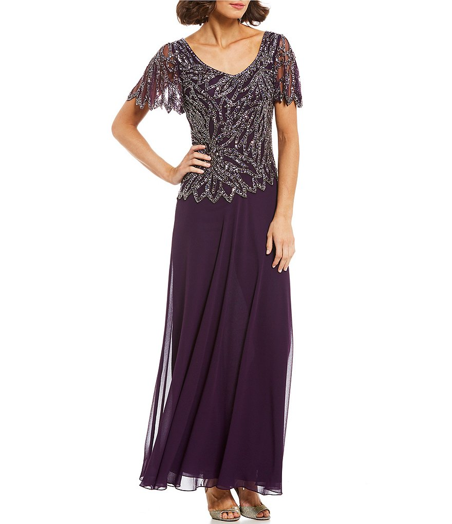 Jkara Petite Size Beaded Bodice V-Neck Short Sleeve Mock 2-Piece Gown