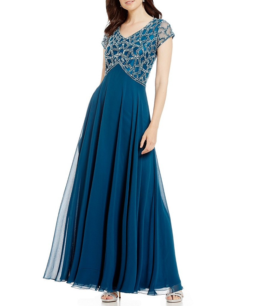 Jkara Petite V-Neck Beaded Bodice Gown