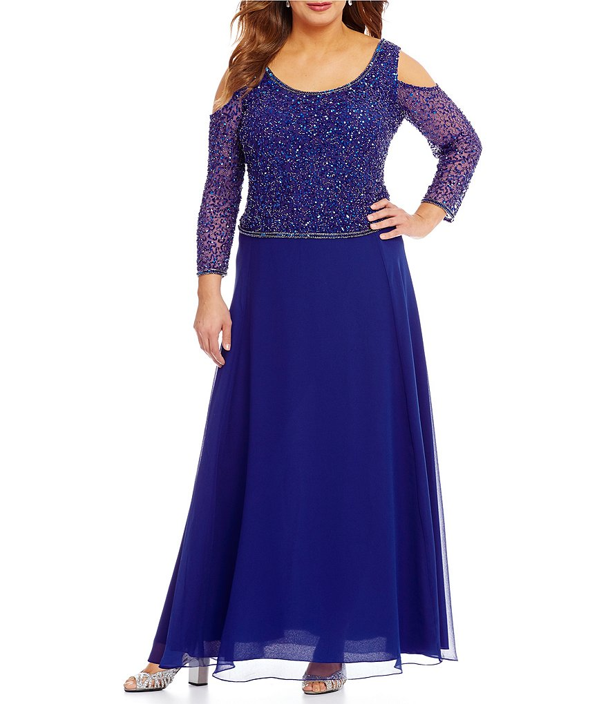 Jkara Plus Cold-Shoulder Beaded Gown