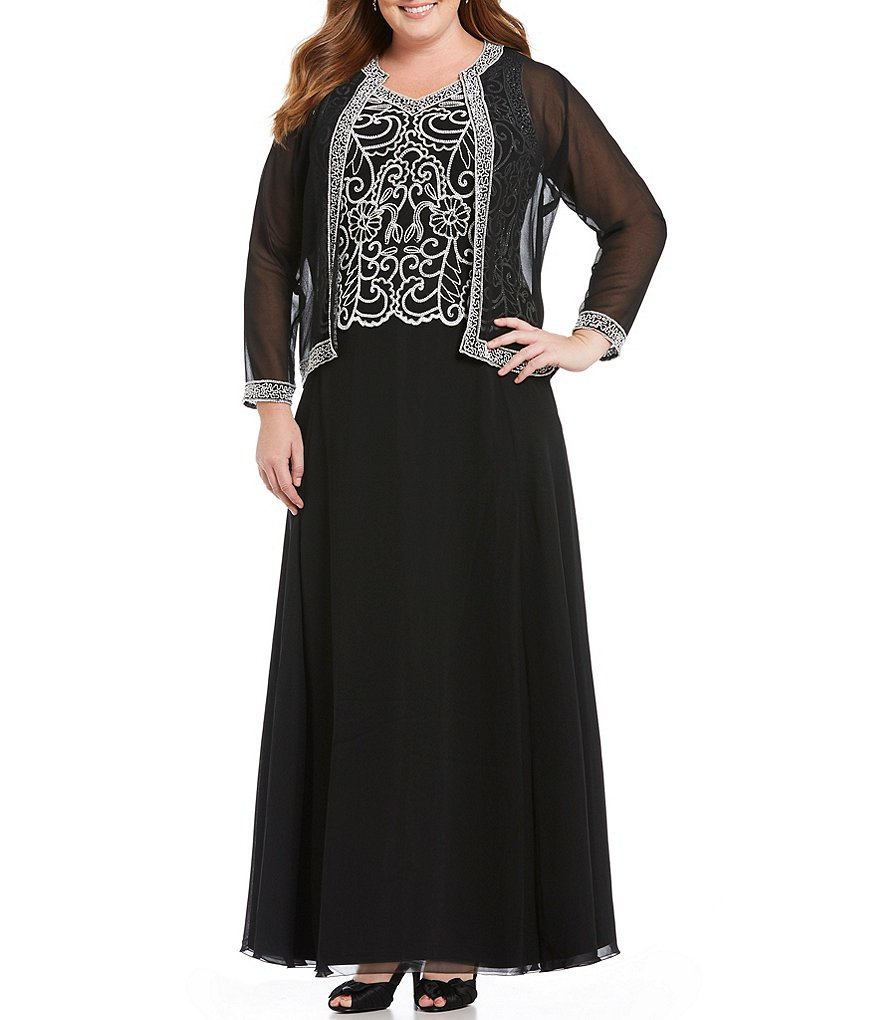 Jkara Plus Scroll Beaded 2-Piece Jacket Dress