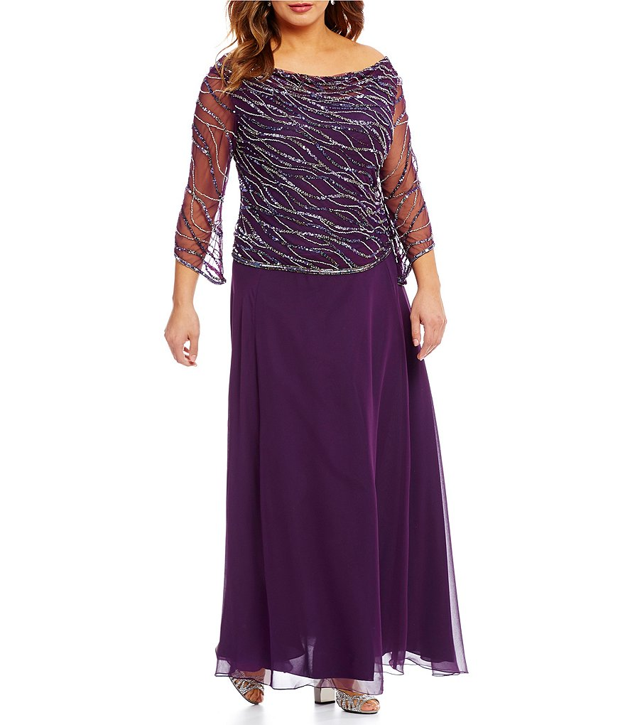 Jkara Plus Sequined Cowl Neck Gown
