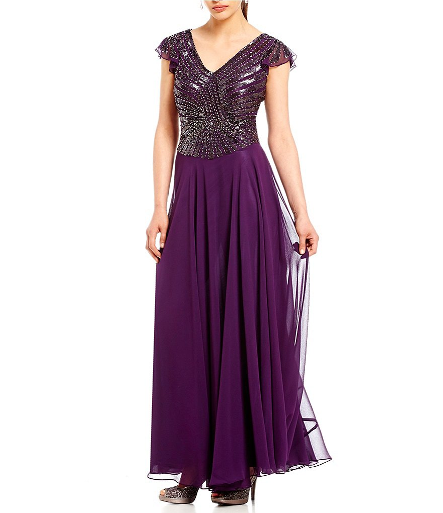 Jkara V-Neck Flutter Sleeve Gown