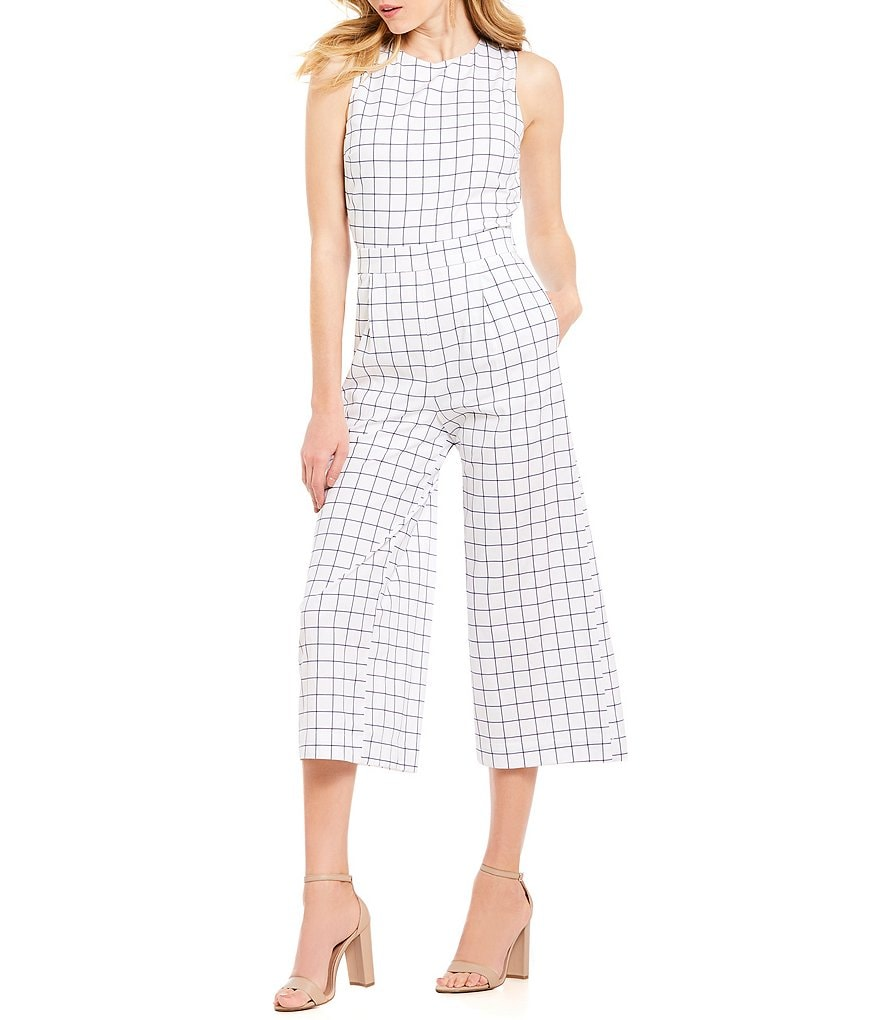 J.O.A. Checkered Cropped Culotte Jumpsuit