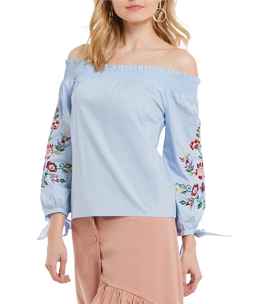 J.O.A. Off the Shoulder Floral Embroidered Tie Sleeve Peasant Top