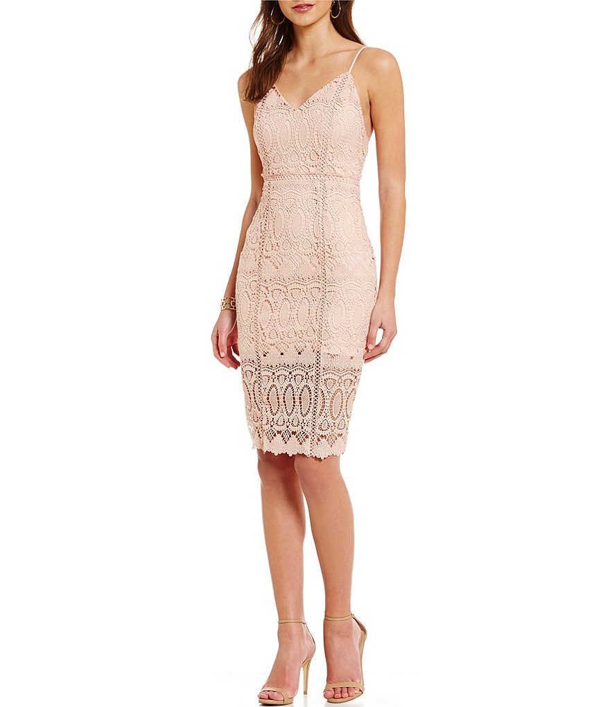 J.O.A. Scalloped Lace Midi Dress