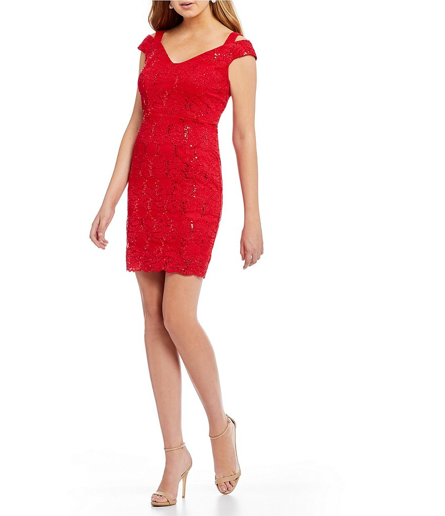 Jodi Kristopher Cold-Shoulder Sequin Lace Sheath Dress